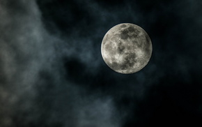 stunner, moon, night, clouds