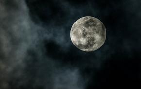 красивые, луна, красота, ночь, облака, Полнолуние