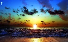 природа, берег, прибой, вечер, волна