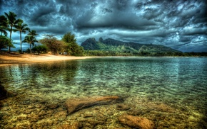 sky, island, tropics, cloudy, ocean