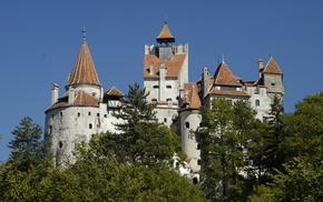замок Бран, красота, небо, деревья, Румыния, города
