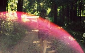 юбка, лето, лес, розовый, девушка