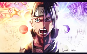 Uzumaki Naruto, Uchiha Sasuke, screaming, splitting, Rinnegan, Kurama