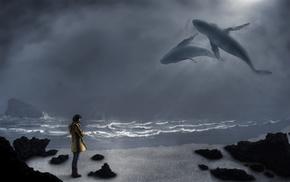 киты, океан, девушка, креатив, небо