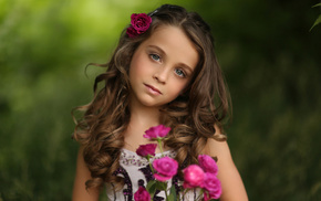 portrait, girlie, roses, children