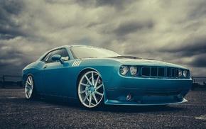 сперкар, пасмурно, Challenger, автомобили, Dodge, облака