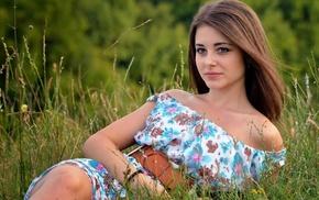 brown eyes, girl outdoors, Dana, girl