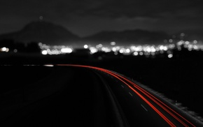 road, bokeh, selective coloring, light trails, long exposure