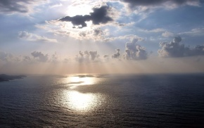 sea, sky, rays, nature, clouds