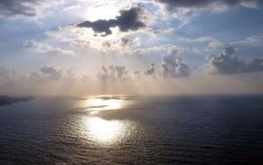 море, небо, лучи, природа, облака, свет