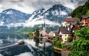 cities, mist, water, nature, mountain