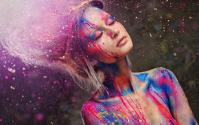closed eyes, sunlight, body paint, girl, bare shoulders, paint splatter