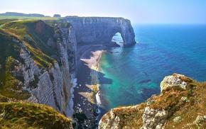 берег, красиво, камни, Франция, море, скалы