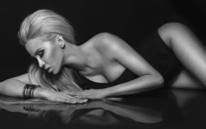 блондинка, красивые, девушка, лежа, позирует, тема