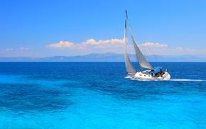 паруса, ветер, путь, яхта, красивые, океан