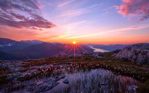 закат, природа, горы, небо, солнце