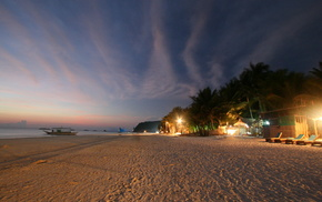 красота, пляж, красивые, зелень, небо, огни