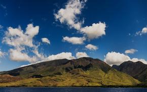 побережье, природа, небо, океан, горы, красота