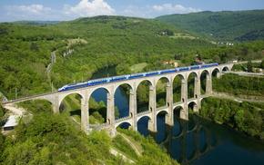 река, жд, небо, Франция, зелень, красота