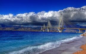 Греция, горы, город, мост, море, пасмурно