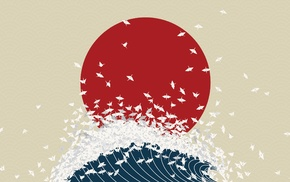 Япония, волны, цифровое искусство, птицы, минимализм