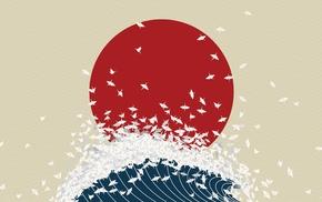 Japan, waves, Nihon, Nippon, digital art, birds