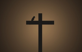 cross, birds, minimalism