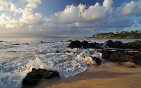 остров Мауи, прибой, побережье, красота, океан, небо