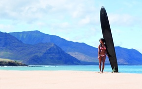 beach, bikini, girl, brunette, surfboards
