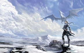 girl, elves, dragon, sword, snow, fantasy art