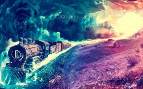 painting, landscape, fantasy art, colorful, artwork, train