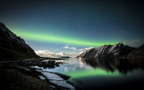 lake, Norway, Lofoten, mountain, aurorae