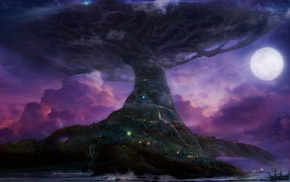 moon, Teldrassil, purple, World Tree, Darnassus, World of Warcraft