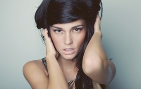 girl, model, face, dark hair, hazel eyes