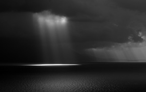 rain, horizon, photography, lights, Sun, sea