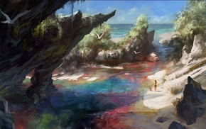 fantasy art, sea, nature, artwork, colorful, beach
