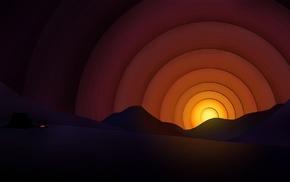 digital art, sunset, mountain