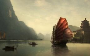river, boat, fantasy art