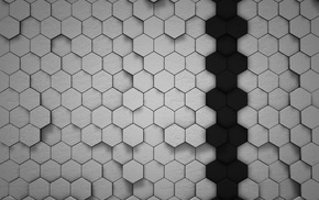 hexagon, lines, simple, white, shadow, artwork