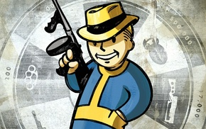 tommy gun, Fallout, video games, Pip, Boy