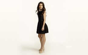 high heels, Marie Avgeropoulos, simple background, Canada, black dress, model