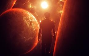 фантастическое исскуство, солнечный свет, планета, галактика, огонь