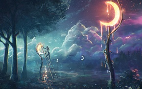 moonlight, Sylar, fantasy art, clouds