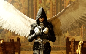 armor, church, wings, sword, fantasy art