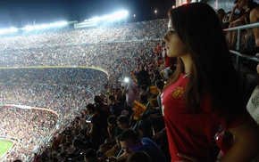 brunette, fans, sports, Camp Nou, stadium, girl