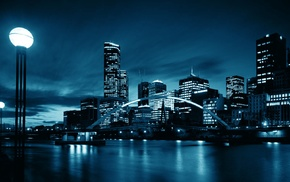 river, blue, water, town, lights