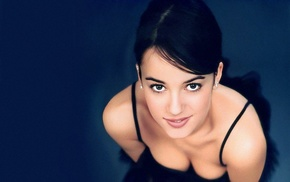 eyes, face, brunette, smiling, Alizee, girl