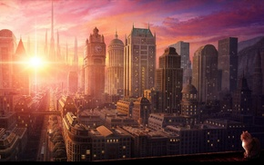 cityscape, sunset