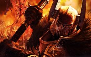 eyes, Warhammer, fire, war, helmet, Chaos