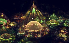 digital art, fantasy art, artwork, bubbles, lights, colorful